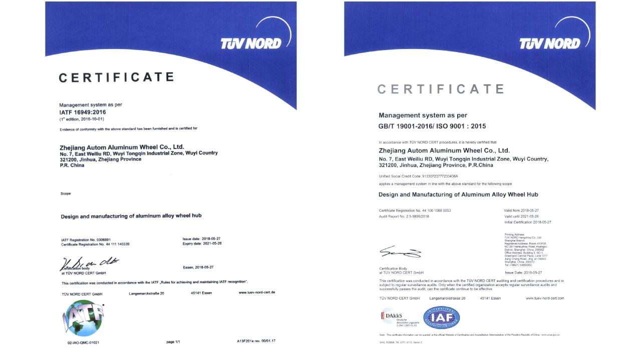 Certificates IATF 16949 oraz ISO 9001 - ladnefelgi.pl