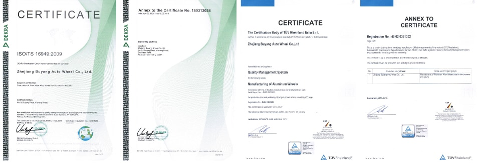 Felgi Racing Line - Certyfikaty ISO TÜV
