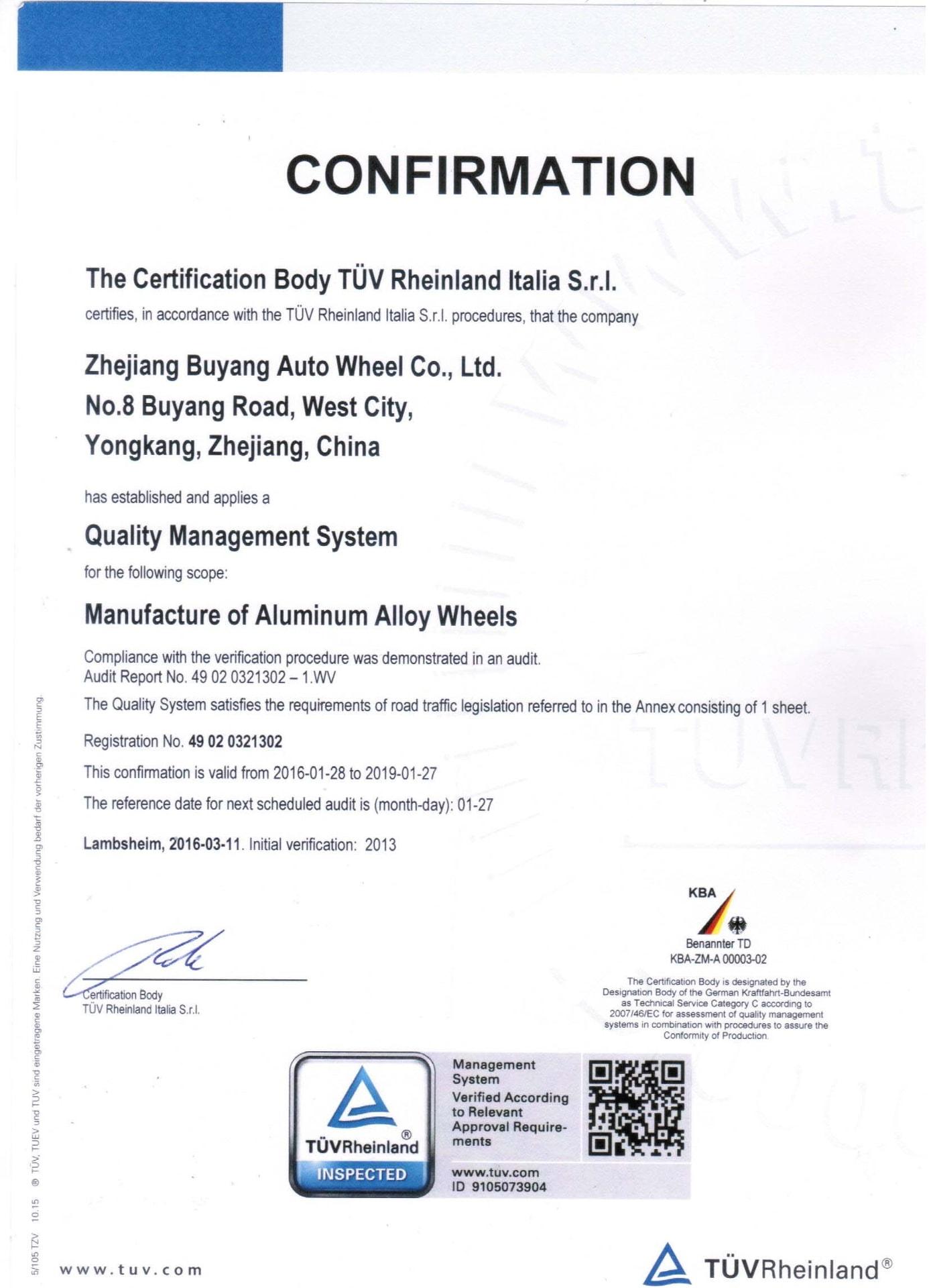 Certyfikat TUV - LadneFelgi.pl