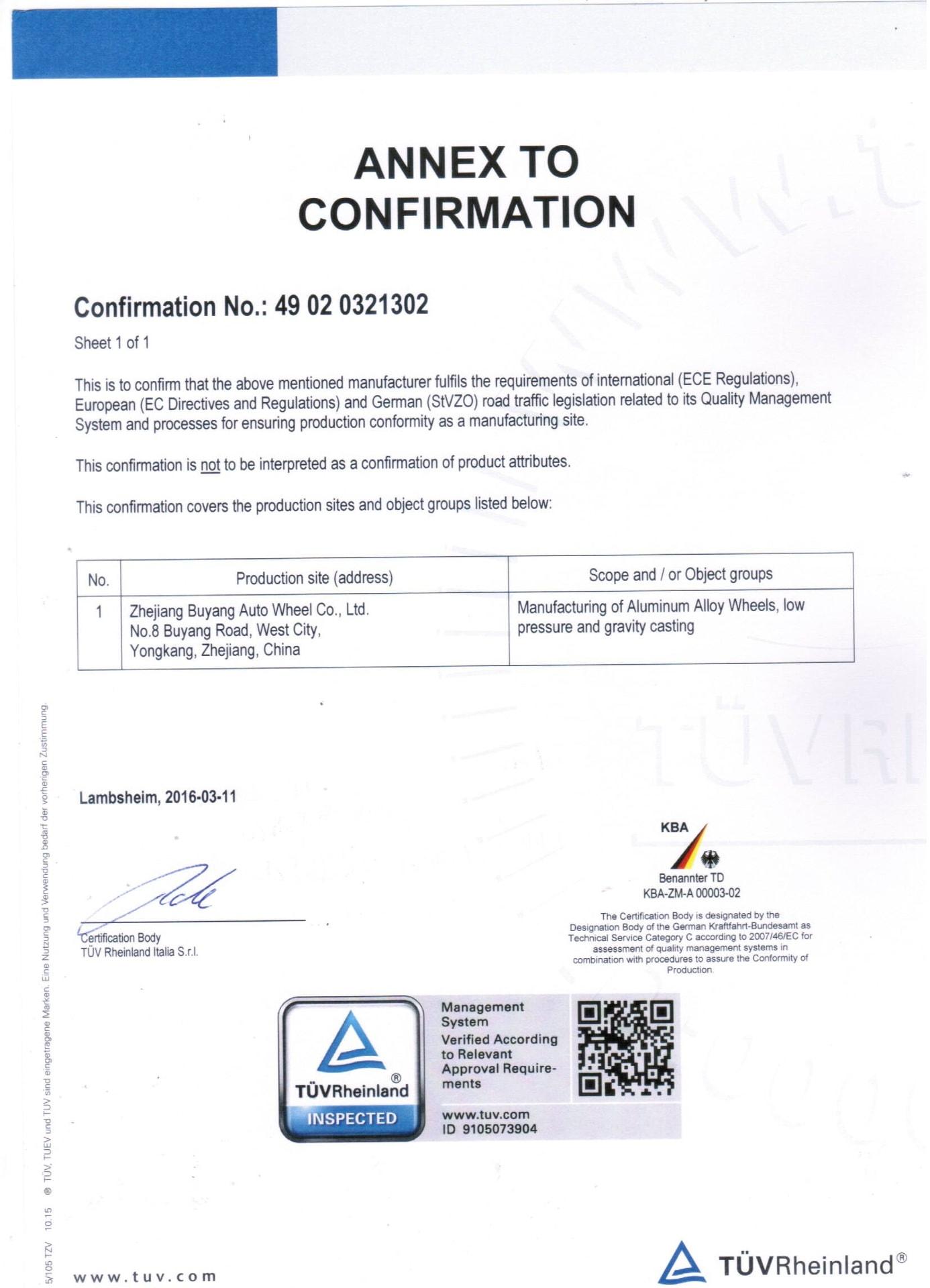 Certyfikat TUV Aneks - LadneFelgi.pl
