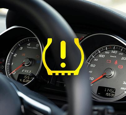 Czujnik ciśnienia wysyła bezprzewodowo informację o spadku ciśnienia - zapala się kontrolka.